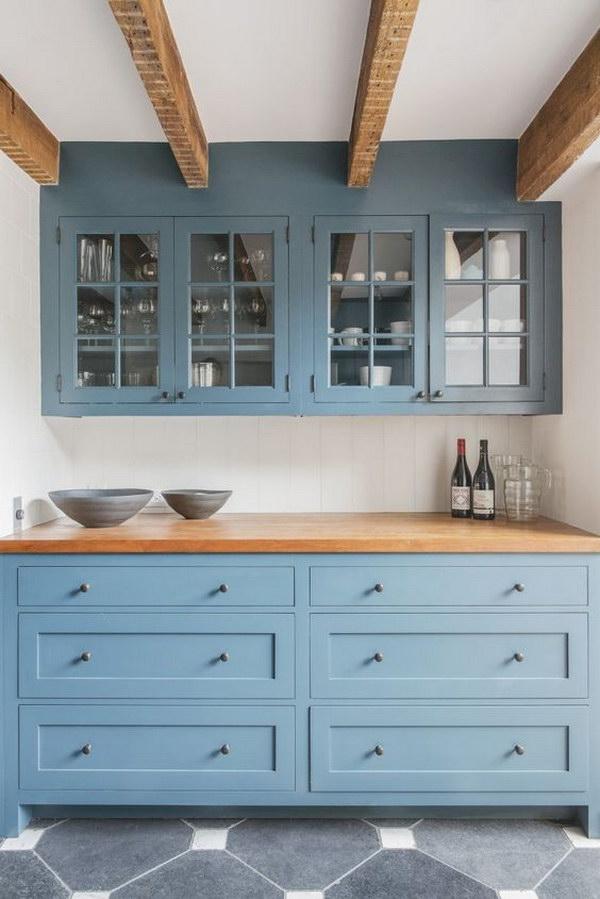 Dusty Blue Shaker Style Kitchen Cabinets.