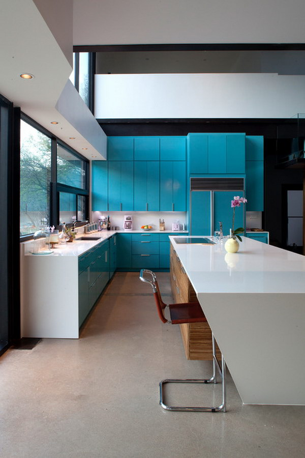 Custom painted Turquoise Cabinets.