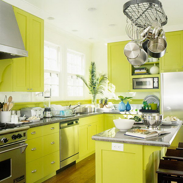 Cool Mint or Light Green Kitchen Cabinets.