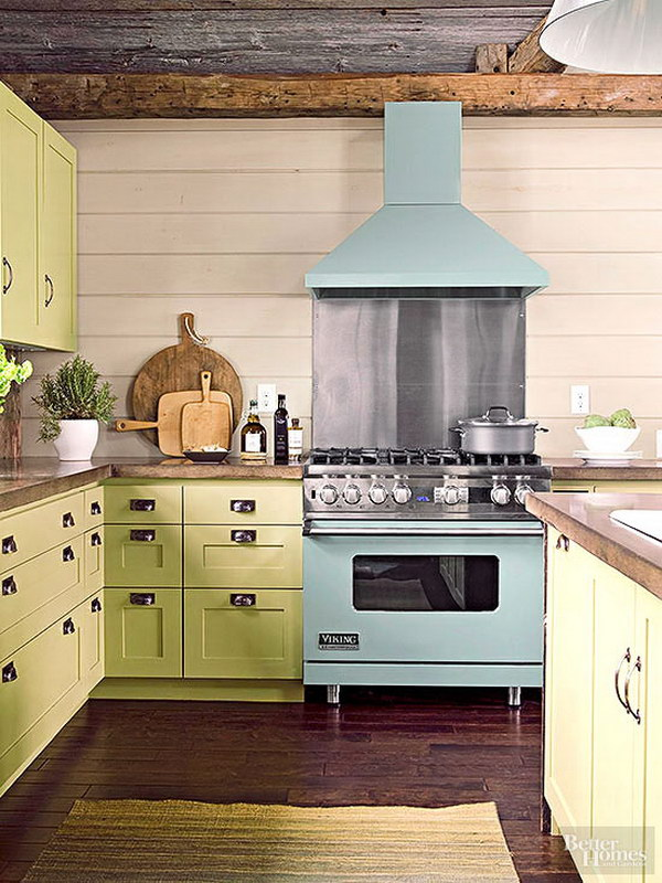 Pale Yellow Green Celadon Cabinetry in a Casual Cottage Kitchen.