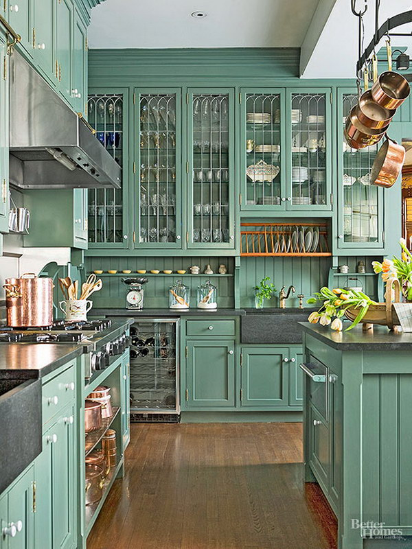 Clic Victorian Green Painted Kitchen Cabinets
