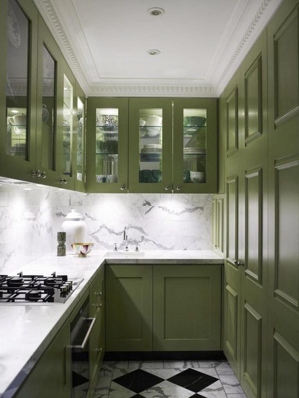 Dark Green Tall Kitchen Cabinets.
