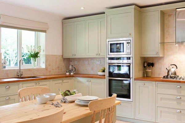 Yellow green Painted Kitchen Cabinets.