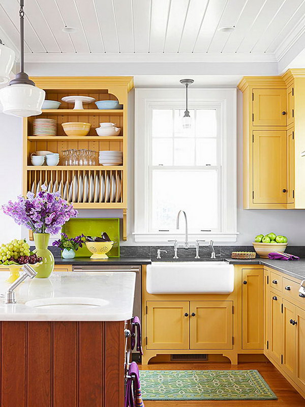 Cherry Yellow Kitchen Cabinets with Open Shelving.