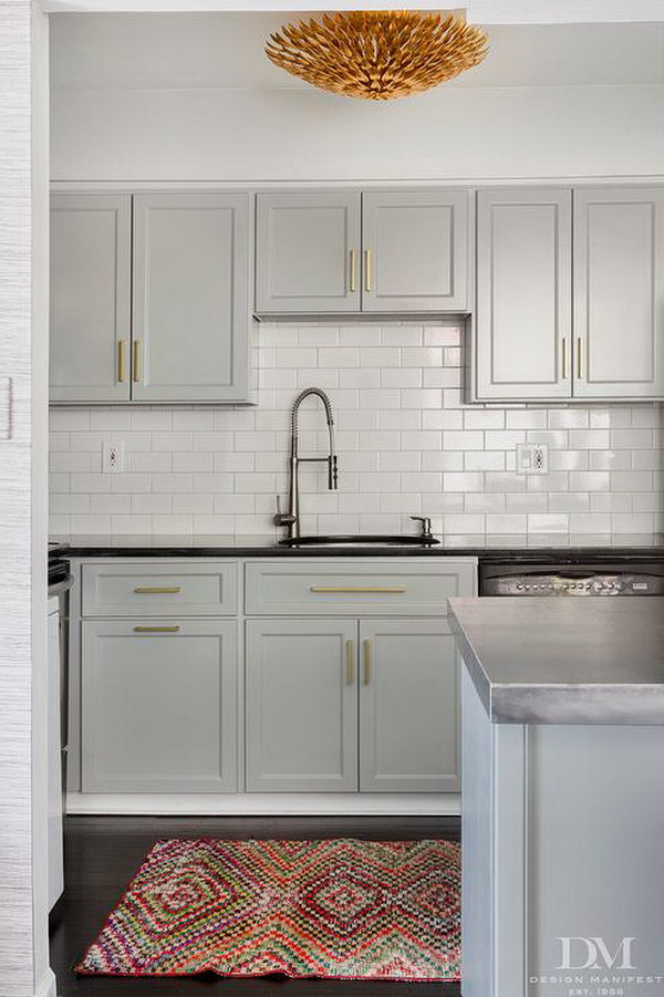 Light Gray Painted Kitchen Cabinets.
