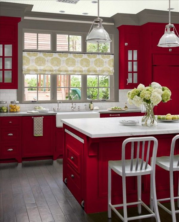 Red Cabinets Paired with White Countertops and Gray Walls.