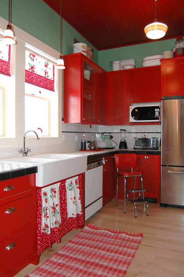 Cottage Kitchen with Bright Red Painted Cabinets.