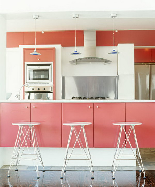 Soft Pink Painted Kitchen Cabinets.