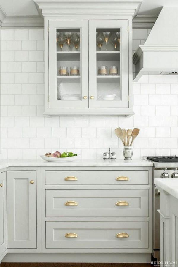 Gorgeous Pastel Gray Kitchen Cabinets.