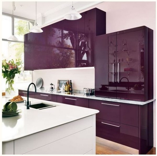 Modern Kitchen with  Royal Purple Cabinets.