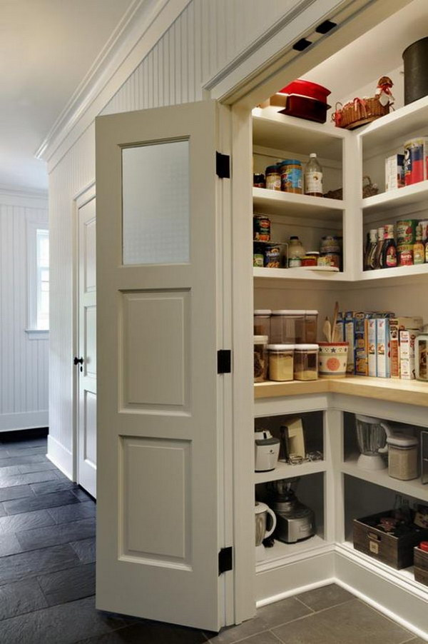 Traditional Kitchen Pantry with White Open Cabinets.