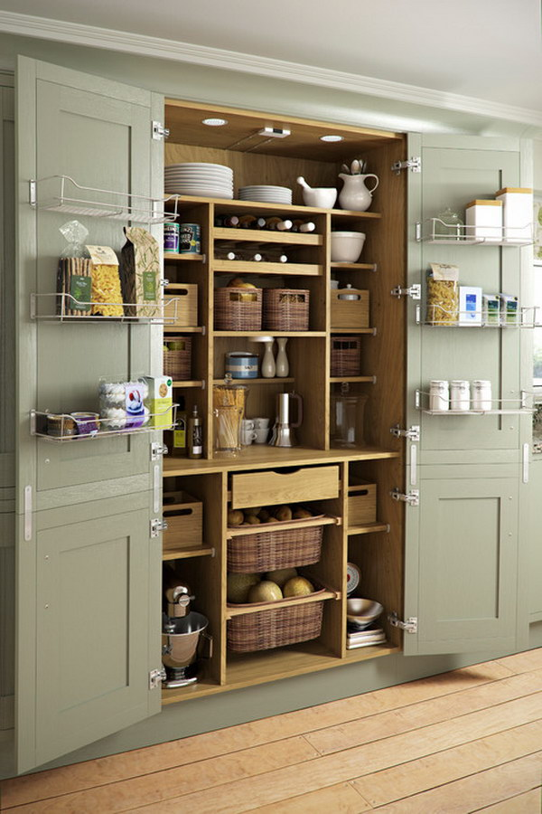 Kitchen Pantry with Green Cabinets and Back of Door Storage.