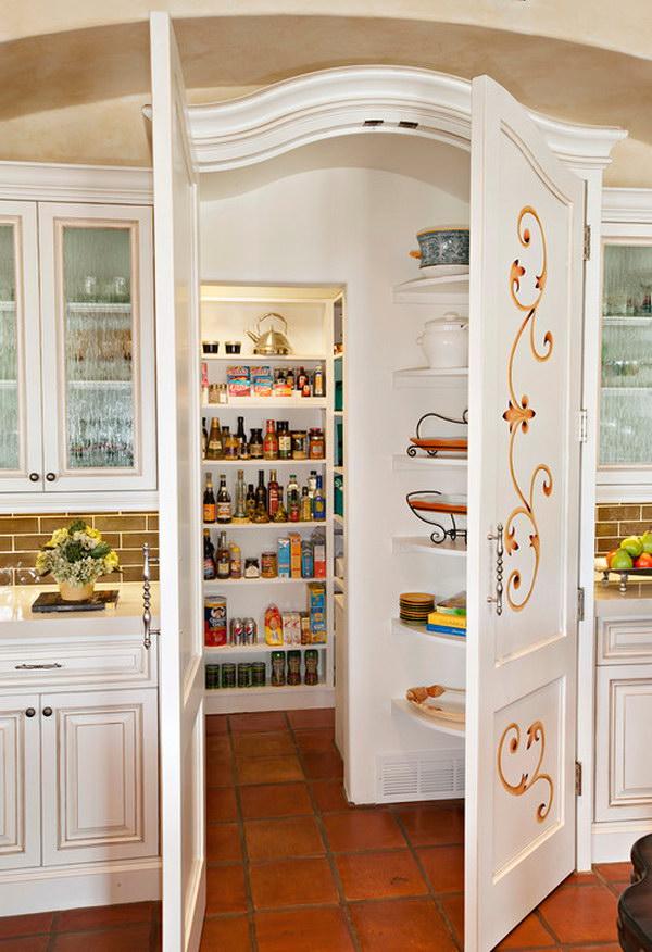 Mediterranean Walk in Kitchen Pantry with Raised panel Cabinets.