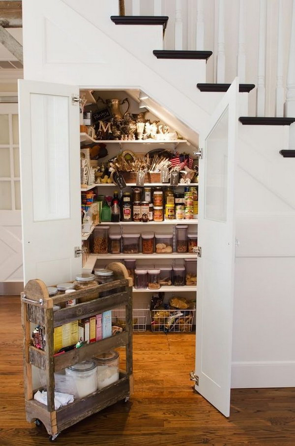 Staircase Walk in Pantry with Custom Made Baking Cart.