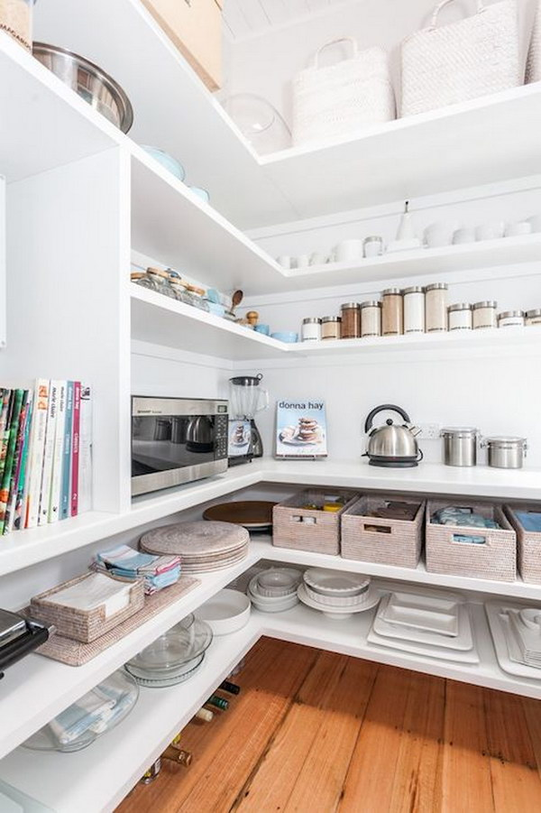 Pantry with Wraparound Shelves.