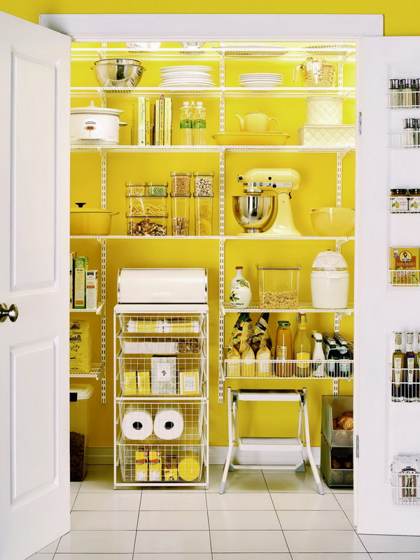 Add a Pop of Color to Pantry Decor.