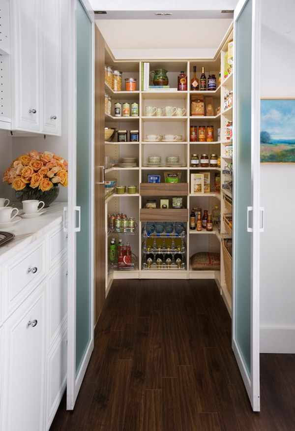 Large Traditional Galley Farmhouse Kitchen Pantry.