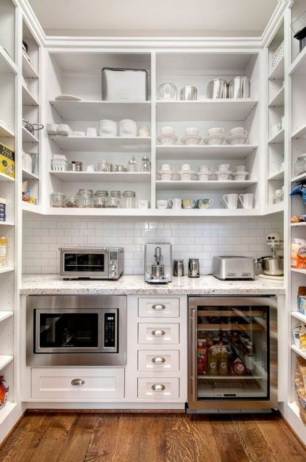 White Kitchen Pantry with Paneled Cabinets.