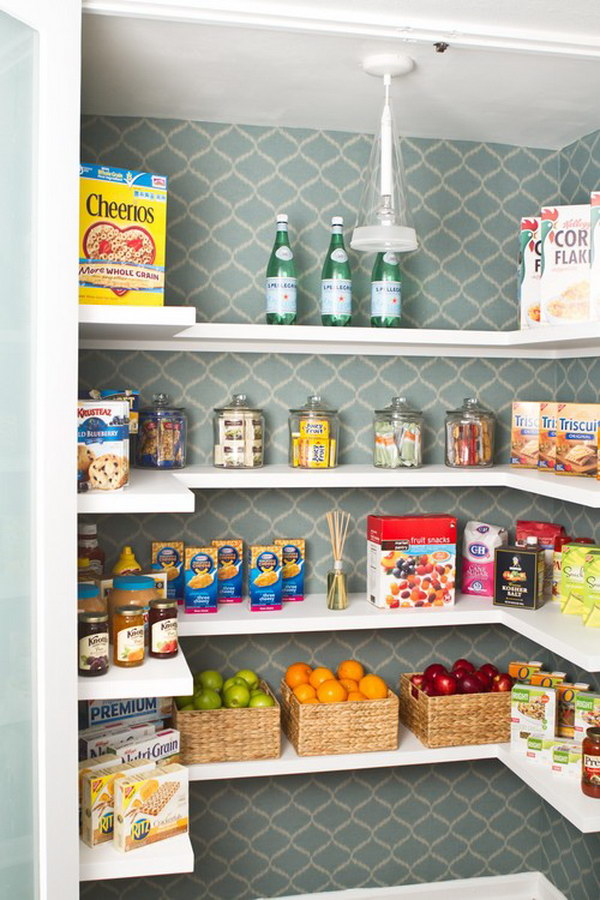 Line the Shelves with Contact Paper.