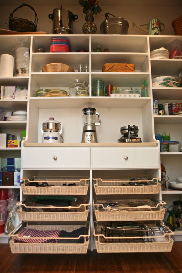 Kitchen Pantry with Narrow Baskets for Pizza Stone.