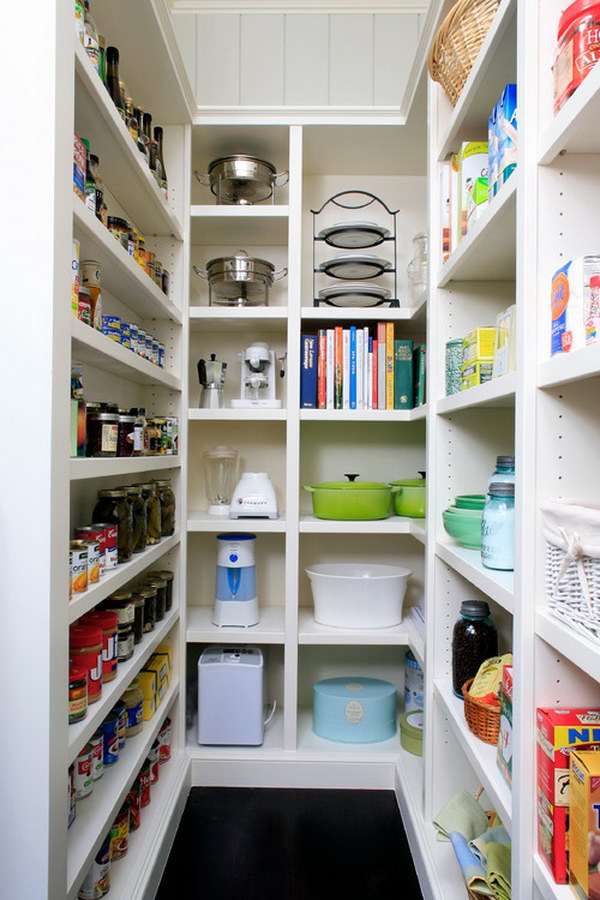 White Kitchen Pantry with Open Cabinets.