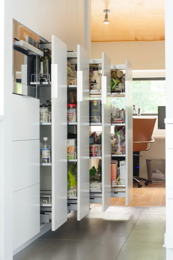 Stylish Kitchen Pantry with a Series of Storage Sliders.