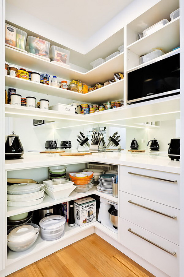 Pantry with Lots of Storage at Bottom for Serving Platters.