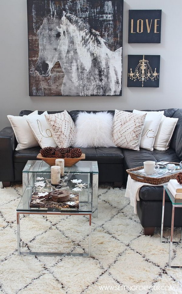 Rustic Glam Living Room with New Rug.