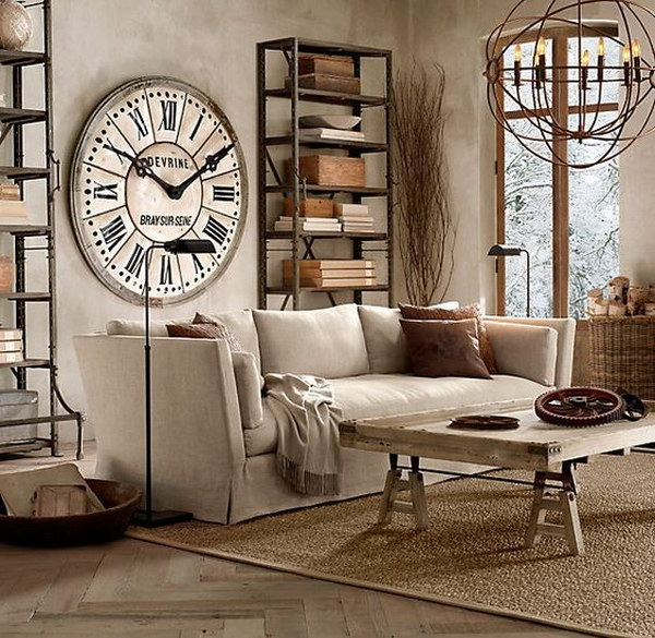 Industrial Living Room Ideas with Vintage and Rustic Style.