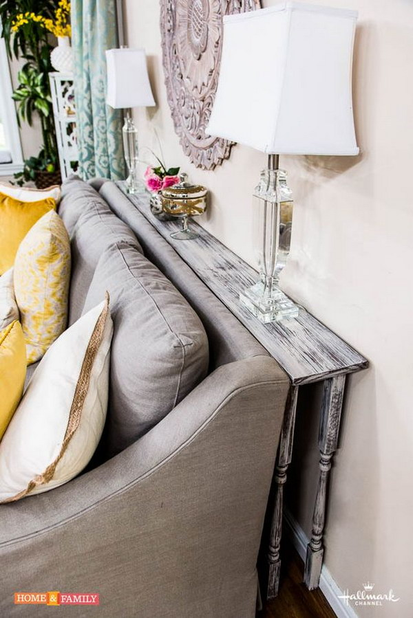 DIY Behind the couch Table for Your Rustic Living Room.