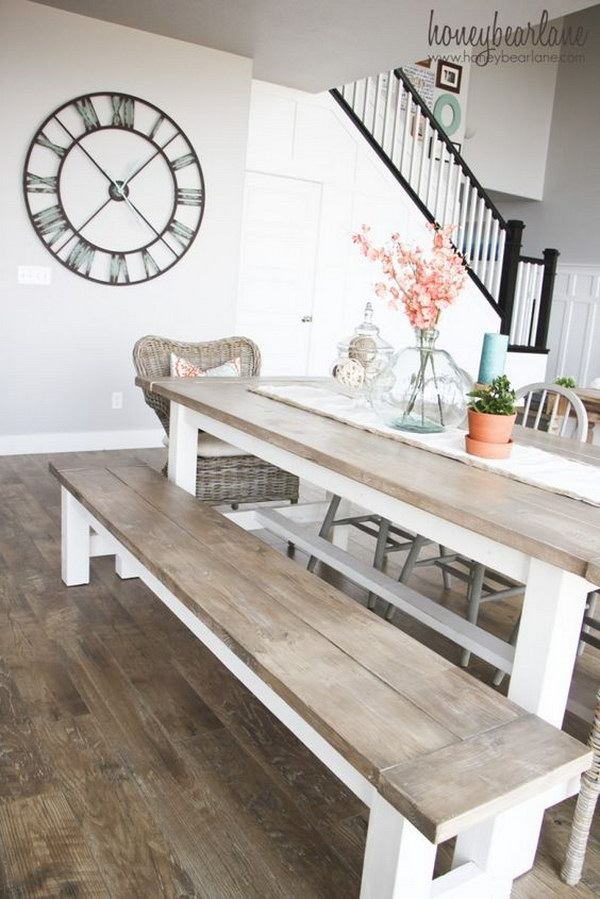 DIY Farmhouse Table and Bench for Living Room.
