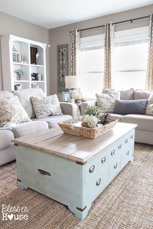 Rustic Living Room with Wooden Coffee Table and Greige Beige Walls.