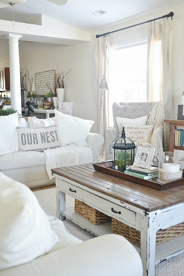 Lovely Neutral Living Room with Rustic Touches.
