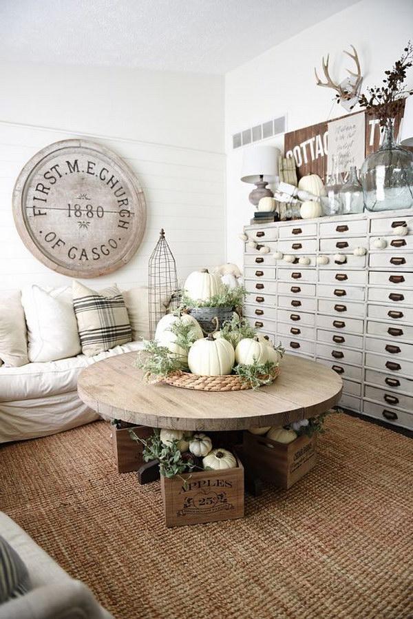 Neutral Vintage Living Room.