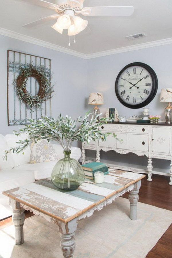 Greens in the Form of Tabletop Plant and a DIY Wreath for the Wall.