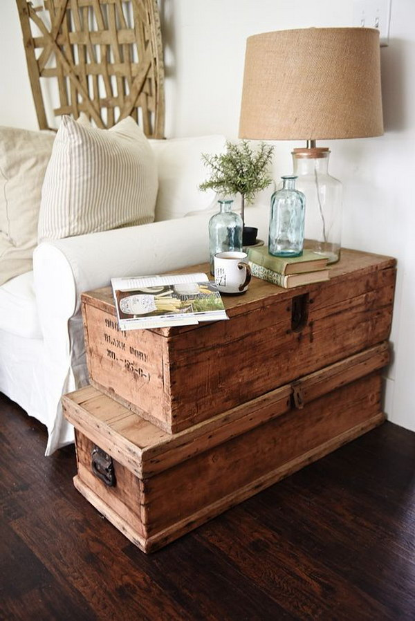 Stacked Trunk End Table.