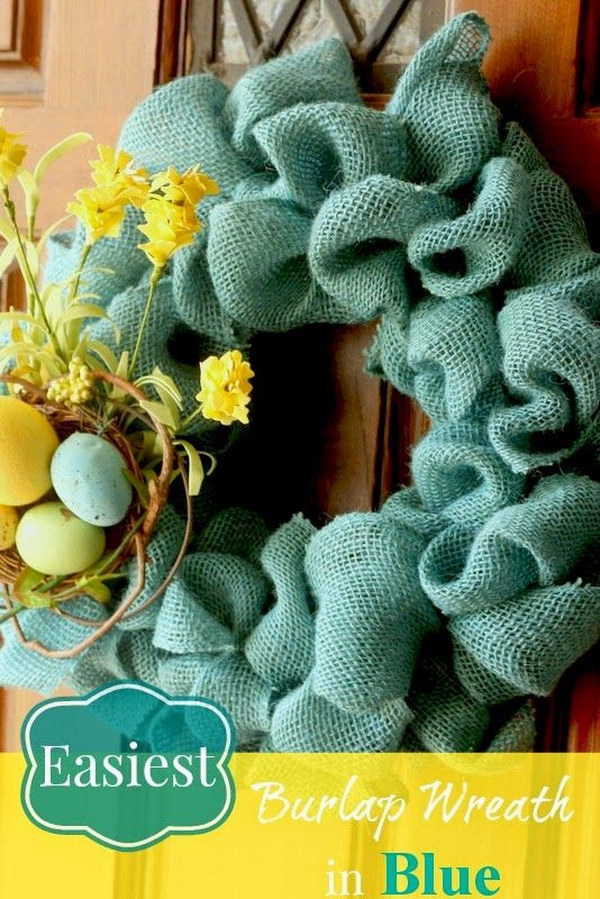 Blue Burlap Wreath for Spring