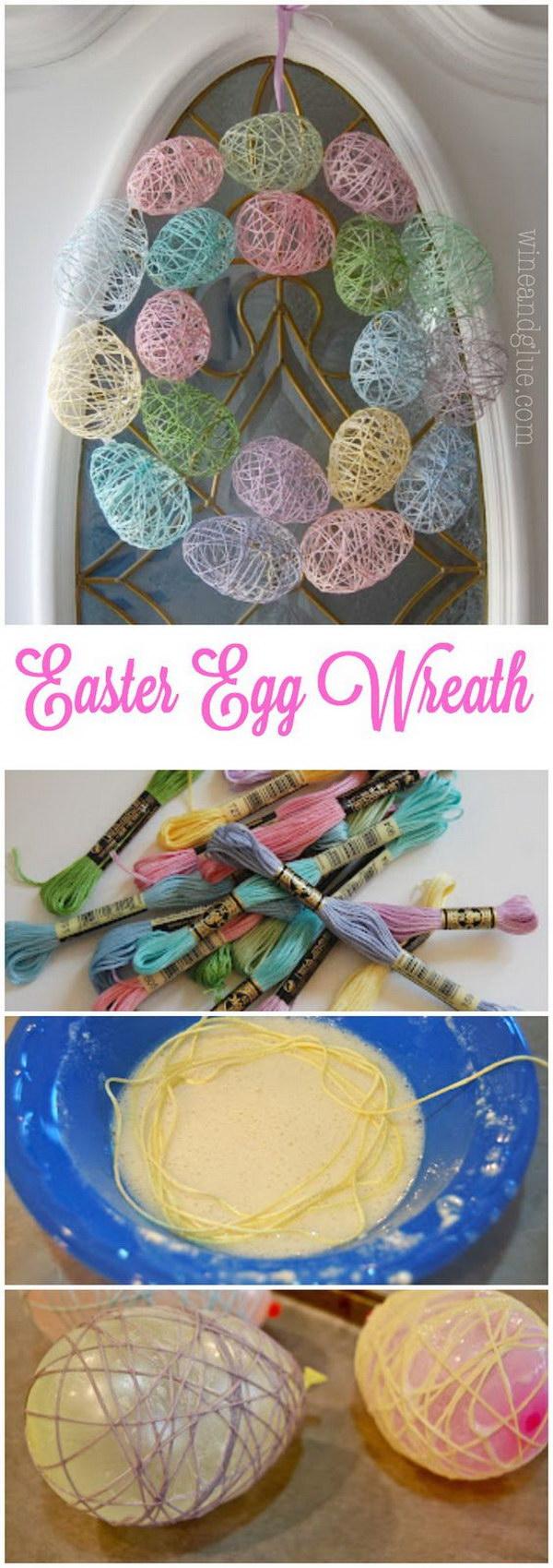 Yarn Easter Egg Wreath  String Tutorial
