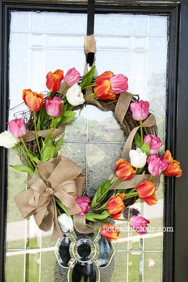 DIY Tulip Wreath with a Burlap Bow