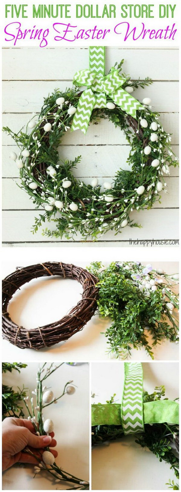5 Minutes Dollar Store DIY Spring Easter Wreath