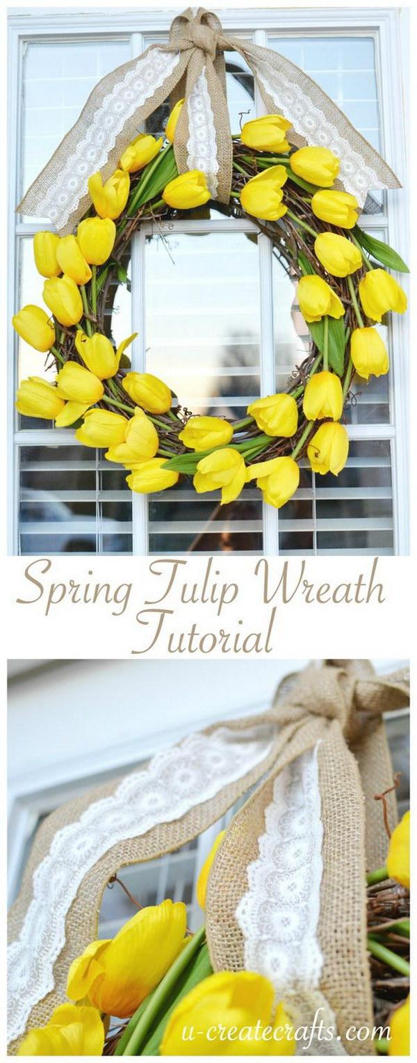 DIY Easy Tulip Wreath