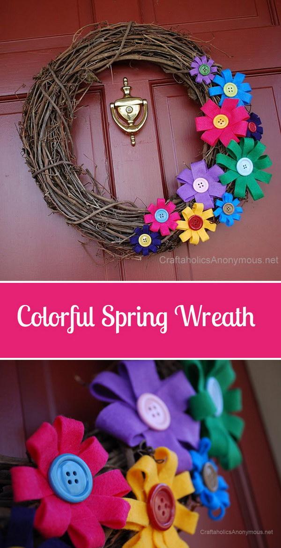 Spring Felt Flowers and Twig Wreath