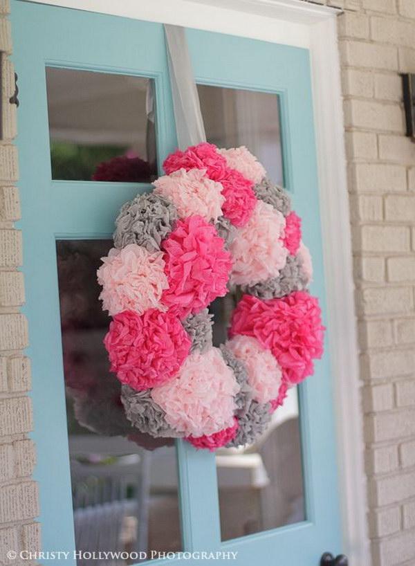 DIY Tissue Paper Pom Pom Wreath