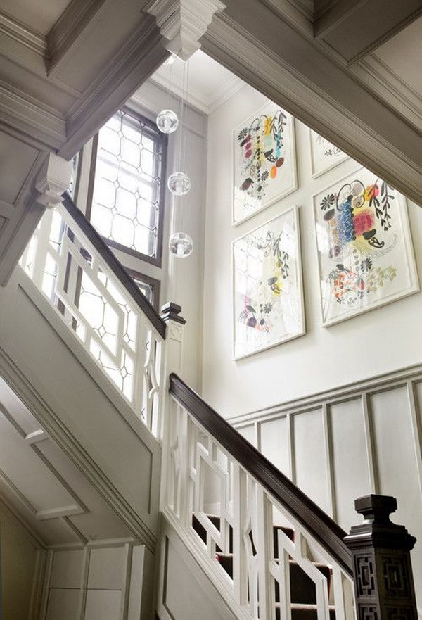 Artworks On Wall With Banister Makeover.