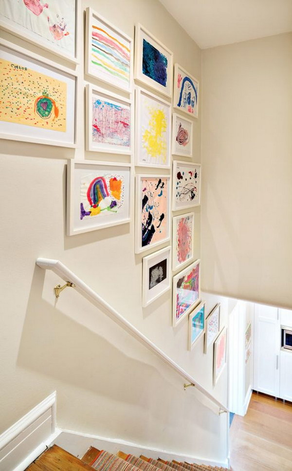 Whimsical and Sentimental Wall Decor Using Your Kid's Artwork.