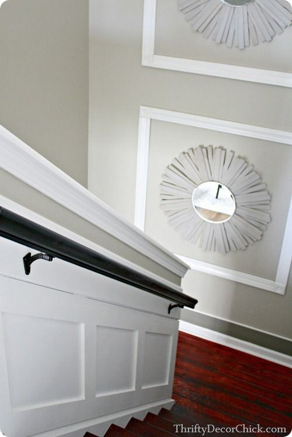A staircase embellished with the sunburst mirrors makes a great impact!