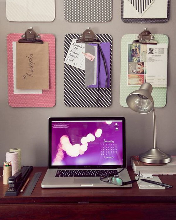 Fabric Covered Clipboards over Desk for Keeping Important Things in front of You