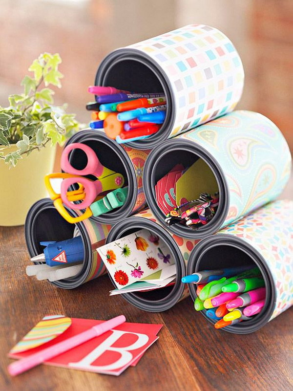 Craft Station Made out of Empty Paint Tins and Wrapping Paper