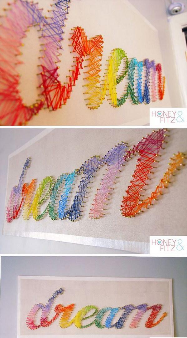 Beautiful Rainbow String Art Tutorial
