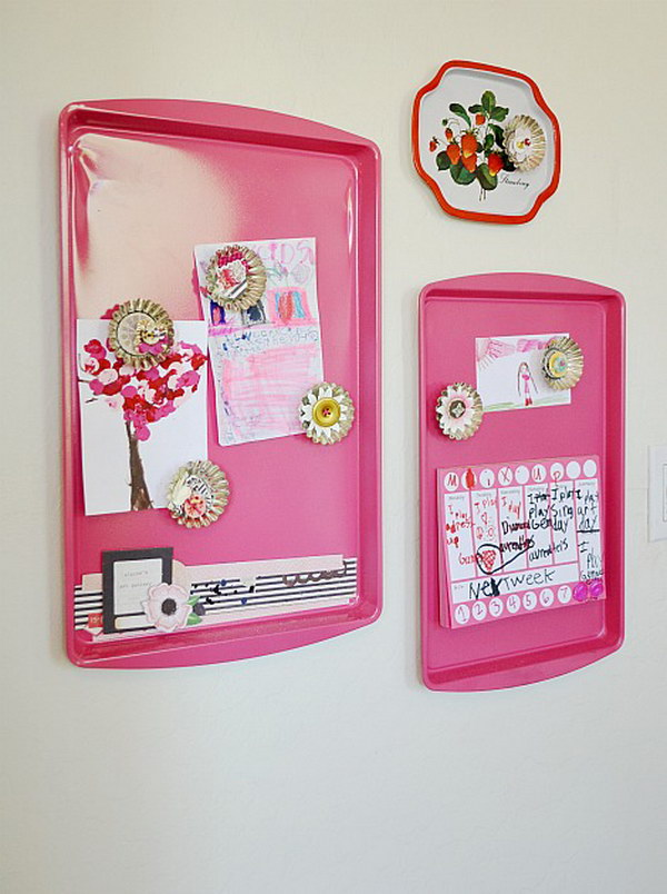 Spray Painted Cookie Tray Magnet Board